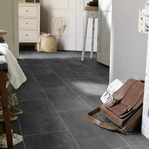 PVC Bodenbelag Fliese Anthracite Melbourne Noir (9,50 p .m²) (Breite: 200 cm x Länge: 500 cm)