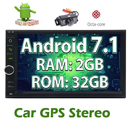 Freie hintere Kamera + Android 7.1 2GB 32GB Auto-Stereo Octa-Core Head Unit mit Bluetooth Sat Navi kostenloser GPS-Karte Unterst¨¹tzung DAB + OBD2 3G / 4G Eingebauter FM / AM Radio Fastboot Wifi Mirrorlink Aux USB SD 7 '' Touch-Screen-Doppel-DIN