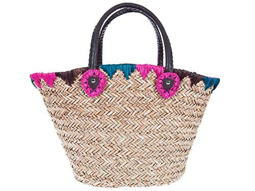 Ibiza-Stroh-Korbtasche 'La Playa' in den Farben natur, türkis und pink, handgeflochten mit Innenfutter, Shopper, Trendtasche, Accessoire,...