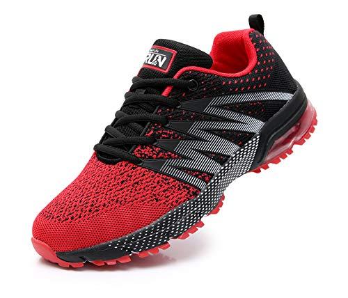 Azooken Herren Damen Sportschuhe Laufschuhe Turnschuhe Sneakers Leichte Fitness Mesh Air Sneaker Straßenlaufschuhe Outdoor(8995 Red43)