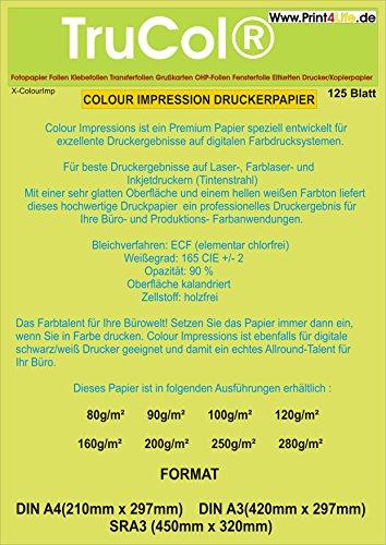 125 Blatt Din A4 200g/m² Premium Papier FARB-Laser, Kopierer, Tintenstrahldrucker, Inkjet, Offset Preprint, Digitaldruckpapier weiß matt, Kopierpapier