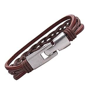 R&B Bijoux - Bracelet Homme - Manchette Tressée & Fermoir Solide Style Twist Vintage - Cuir & Métal (Marron, Argent)