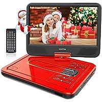 """WONNIE 2019-Upgrade 10.5"""" Tragbarer DVD-Player, Schwenkbaren Bildschirm, HD Display 4-5 Stunden Akku, USB/SD Slot, Kinder (Rote)"""