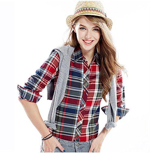 ACVIP Chemisier Femme/Fille Étudiante Carreaux Blouse Casuel Manche Longue Shirt Coton avec Boutons,17 Couleurs 13#