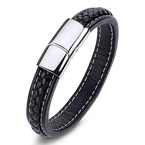Bracelet Cuir hommes Véritable élégant tressé Noir et fermoir en acier titane sans nickel avec boîte cadeau bijoux pour hommes/garçons