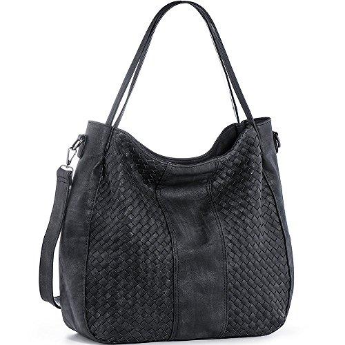 WISHESGEM Handtaschen Damen Schultertaschen Umhängetaschen Cross-body Hobo Henkeltaschen PU Leder Taschen Große Weave (L:45cm * H:35cm * W:13cm) Schwarz
