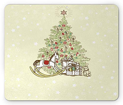 Christmas Mouse Pad, Vintage Themed Tree with Rocking Horse Candles Ornaments Star and Presents Image, Standard Size Rectangle Non-Slip Rubber Mousepad, Multicolor