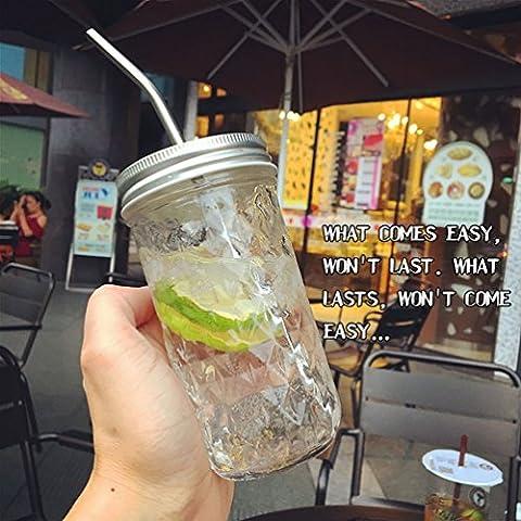 Lingge Diamant Stroh Saft Trinken Hahn Tasse,Diamant-Diamant-Hahn Glas + Stroh