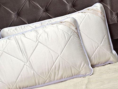 2 Due x 100% Pura Lana Merino Cuscino 45 x 75cm Lana & Cotone Standard. Regalo Perfetto ! Wool Pillow + Cotton Pillowcases