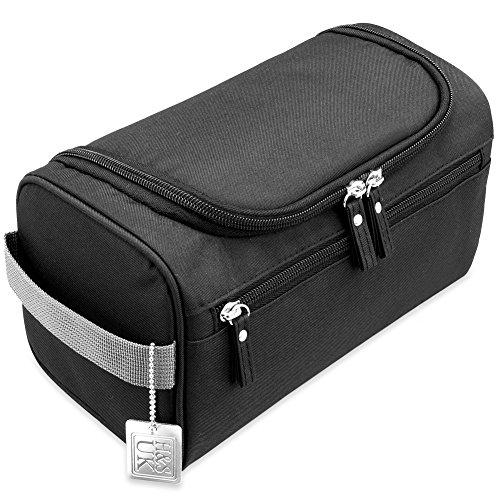H&S Hanging Travel Toiletry Bag Overnight Wash Gym Shaving Bag for Men and Women Ladies Black