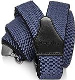Decalen Bretelles Homme Larges Réglable Élastique Extra Fort 3 Clips en forme Y (Bleu Clair)