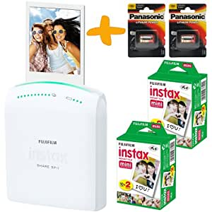 Bundle: Fuji Instax SHARE SP-1 Smartphone WiFi Portable Instant Photo Printer + 40 Instax Mini Prints + Spare CR2 Batteries ( Wireless Printer For iPhone iPad and Android, Print instant credit card sized photos from your phone or tablet wirelessly, personalise your prints with templates and styles )