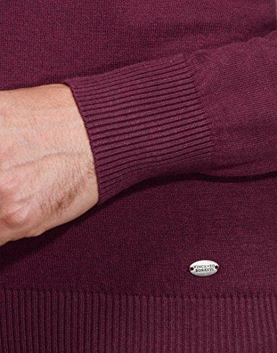 Vincenzo Boretti Herren-Pullover V-Ausschnitt slim-fit tailliert Strick-Pullover V-Neck einfarbig Baumwolle-Mix edel elegant leicht Fein-Strick für Business oder Casual Aubergine