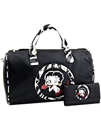 Betty Boop Large Zebra Travel Bag And Wallet Set, Plus Coin Purse (Black/Zebra) By Betty Boop LuxeBag