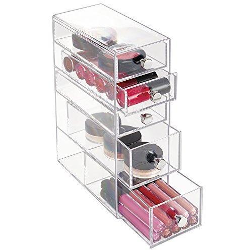 mDesign Schmuck-Organizer - Aufbewahrungsbox für Haargummi, Schmuck, Make-Up & Co. - praktische Schubladenbox mit 5 Schubladen - transparenter Kunststoff & Griffe mit Chrom-Finish