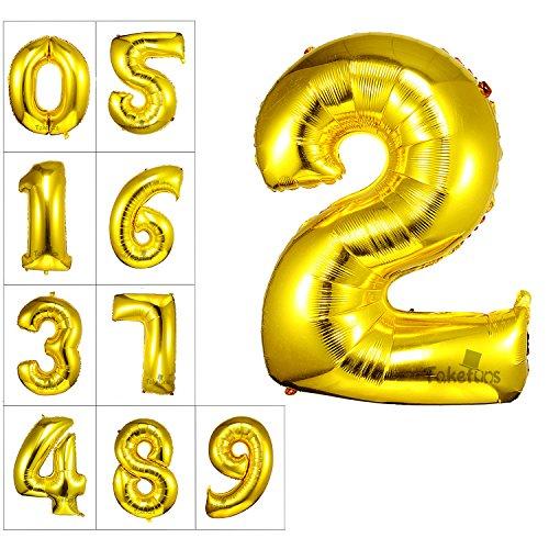 40 Zoll Gold Nummer 2 Ballon Geburtstagsfeier Dekorationen Folie Mylar Helium Buchstaben Ballons (Halloween Dekoration Sprengen)