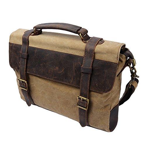 S-ZONE Vintage Messenger Bag / Umhängetasche / Schultertasche / Laptoptasche aus Canvas Leder Unisex Vintage ideal für Studium Büro oder Freizeit Outdoor (Khaki)