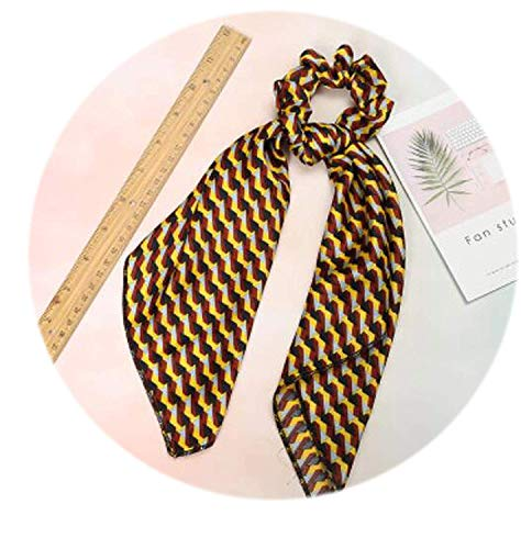 OULN1Y Stirnband Fashion women lovely printed ribbon hair scrunchies cute gum elegant Hair Tie Accessories Ponytail Holder,yellow Strand Paper Pack