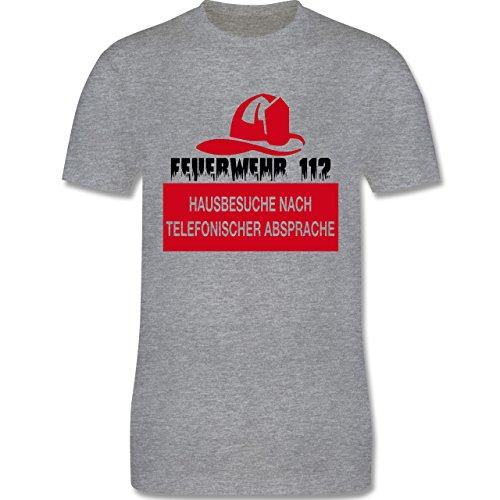 Feuerwehr - Feuerwehr 112 - Hausbesuche nach telefonischer Absprache - Herren Premium T-Shirt Grau Meliert