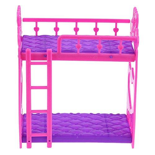 Domybest 7 stücke Nette Puppen Haus Möbel Kunststoff Etagenbett Spielhaus Spielzeug Mädchen Geschenk (Mädchen-haus-etagenbett)
