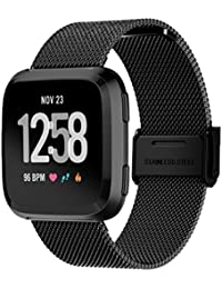 Jintime For Fitbit Versa - Correa de malla de acero inoxidable para reloj, negro
