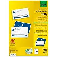 Sigel LP853 Lot de 100 Cartes de visite, 3C, impression recto verso, 8,5 x 5,5 cm, 250 g