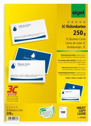 Preisvergleich Produktbild Sigel LP853 Visitenkarten 3C, 100 Stück (10 Blatt), beidseitig bedruckbar, hochweiß, glatter Schnitt rundum, 250 g, 85x55 mm