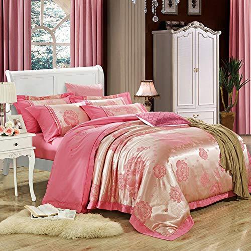 Qiongqiong set copripiumino in raso di seta jacquard di lusso, set di copripiumini quattro set completo di biancheria da letto in cotone 100% matrimoniale copripiumino federa di lino,a