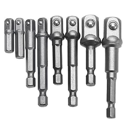 8Pcs Socket Adapter Impact Hex Shank Drill Bits Bar Set 1/4
