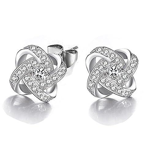 Skyllc® Cubic Zirconia Crystal Clover boucles d'oreilles des femmes 16mm - Clover Cristallo