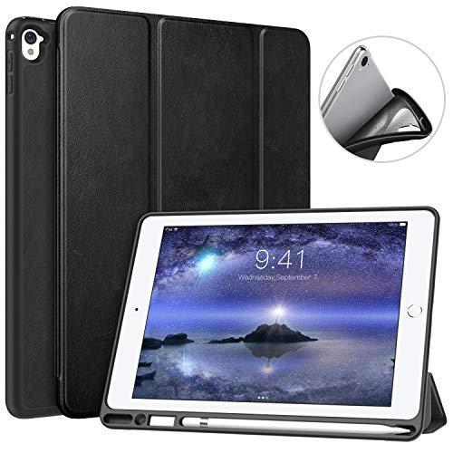 MoKo Hülle für iPad Pro 9.7 mit Apple Pencil Halter, Ultra Lightweight Schutzhülle Smart Case mit Stifthalter, Auto Schlaf/Wach Funktion für Apple iPad Pro 9.7 Inch 2016 Tablet, Schwarz