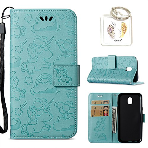 für Samsung Galaxy J5 2017/J530 Hülle Geprägte Muster Handy PU Leder Silikon Schutzhülle Handy case Book Style Portemonnaie Design für Samsung Galaxy J5 2017/J530 + Schlüsselanhänger(/*131) (5)