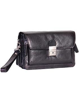 Herren Echtes Leder Handgelenktasche Tasche schwarz Travel Handy Alle Veranstalter Handtasche mit Lock A853 Carry