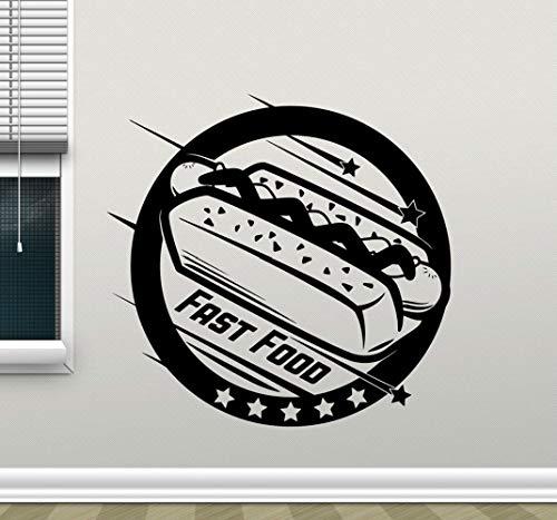 JXNY Cafe Hot Dog Shop Wand Fenster Dekoration Vinyl Aufkleber entfernbare moderne Poster Tapete 58X57CM (Hot Dog Dekorationen)