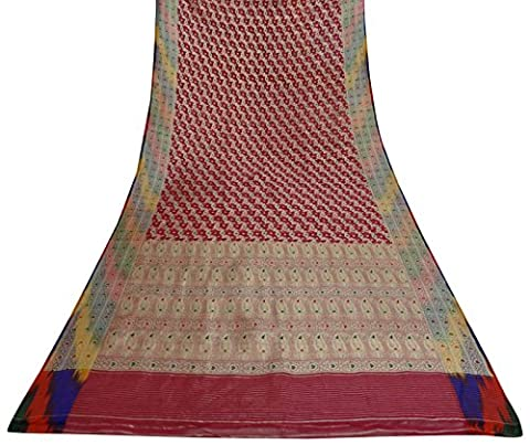 Vintage indische Magenta Saree Antique Decor Organza Seide gewebt Gebrauchte Craft Sari