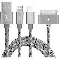 EliteSoft múltiple 3 en 1 USB cable de carga con iluminación 8 Pin / 30 Pin / Conector micro USB 4.9ft para iPhone 7, 6, 5, 4,3, 4,3,2 iPad, Aire, iPod, Galaxy S3 / S4 / S5 / S6 / S7 Edge, LG