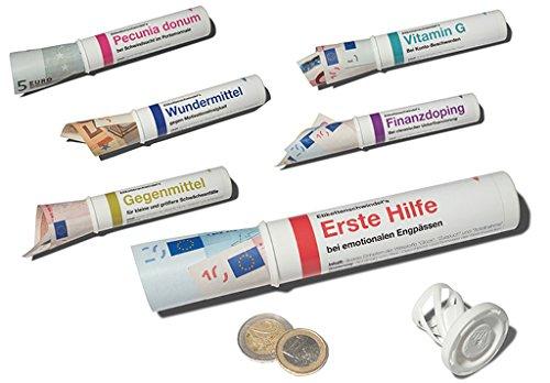 Preisvergleich Produktbild 6er-Set: Geld- & Geschenkröhrchen im Medikamenten-Stil +++ MIX SET Nr. 1 von modern times +++ Sechs lustige Motive +++ I LOVE GIFTS