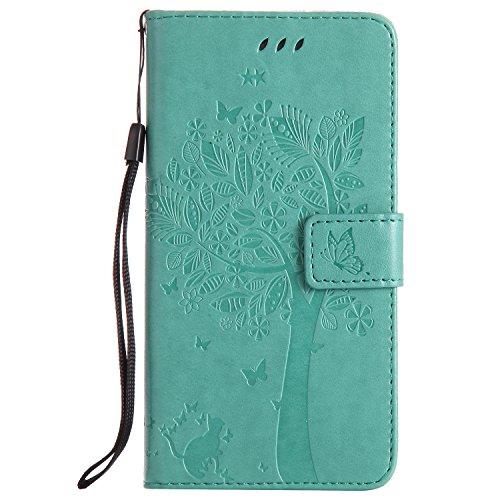 ge Plus/G9280 Handyhülle, Hülle mit Prägung aus geprägtem Craft Baum und Katze, Premium PU Leder Brieftasche Magnet Flip Hülle mit Kartenslots, Grün ()
