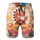 Générique Cute Dino Drive Funny Car Quick Dry Elastic Lace Boardshorts Beach Shorts Pants Swim Trunks Mens Swimsuit with Pockets XXL