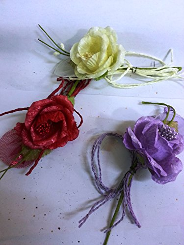 Confezione 10 fiori, bomboniera pick fiore, + 1 racchettina portaconfetto, segnaposto. (oing7031) (glicine-lilla)