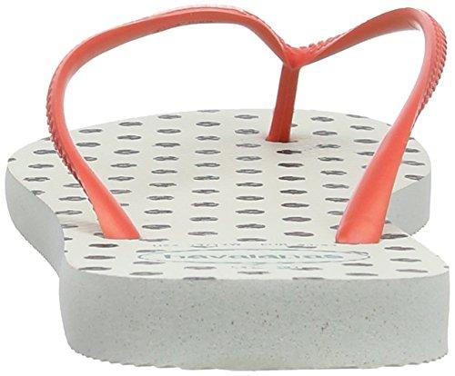 Havaianas Hav Slim Fresh Pop-Up Damen Dusch und Badeschuhe Weiß 0001