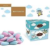 """Gangemi Confetti - Caja de regalo """"Benvenuto"""" Peladillas Grageas con la Almendra - Clásica italiana - Azul envueltas individualmente - Ideal para el bautismo o el nacimiento - 500g"""