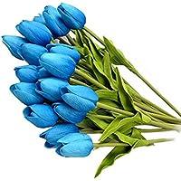 10 Piezas Tulipán Flores Artificiales 35 cm Tacto Verdadero Material de PU Adorno para Boda Ceremonias Navidad Hogar Decoración, Color Azul