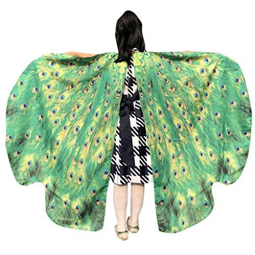 LILICAT Junge Mädchen 136*108CM Kostüm Party Weiche Gewebe Schmetterlings Flügel Schal feenhafte Damen Nymphe Pixie Halloween Cosplay Weihnachten Cosplay Kostüm Zusatz (One Size, Grün)