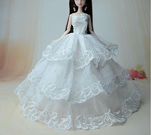 AK010 Abendkleider: Schöne und modische Handgefertigte Puppe Kleidung(Puppen nicht im Lieferumfang enthalten) (weiß (Kostüme Meerjungfrau Geheimnisvolle Mädchen)