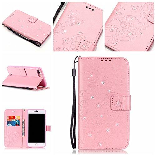 Ecoway Case / Cover / Phone Case / Case pour iPhone 7 Plus 5.5 Zollpapillon incrusté motif de diamant Bling Crystal Glitter Strass gaufrage design Folio PU Housse en cuir dans le livre de style avec s Pink Butterfly Imprimer
