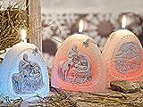 CHRISTMAS NIGHT - Krippe, Dekokerze mit LED Diode, Handgemachte Weihnachtskerze