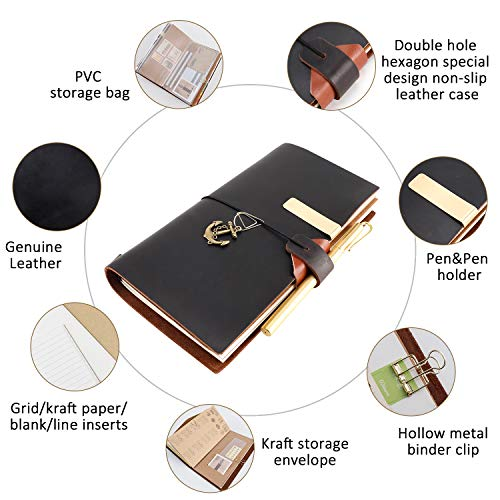 8.5 Leder (GRT Tagebuch/Reisetagebuch aus Leder nachfüllbar 8,5 x 4,5 cm handgefertigt mit 4 Einsätzen kreatives Zubehör über 30 Stück perfektes Schreibgeschenk für Männer und Frauen TN Standardgröße)