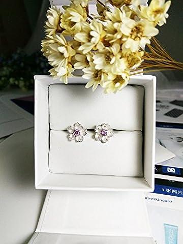 XJoel kreative Sakura Ohrringe S925 Silber Japan und Südkorea Temperament süße minimalistische Ohrringe weiblich