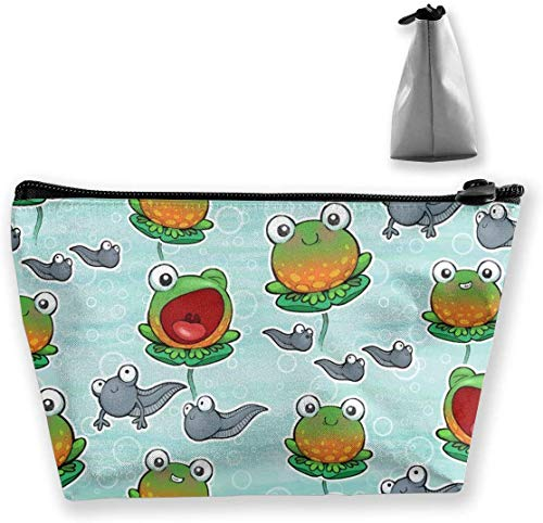 Cute Frogs and Tadpole Makeup Bag Large Toiletry Bag Travel Makeup Bags with Zippered -